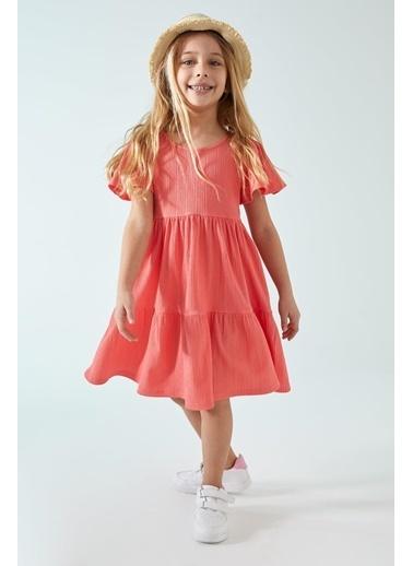 DeFacto Kız Çocuk Volanlı Kısa Kol Elbise Kırmızı